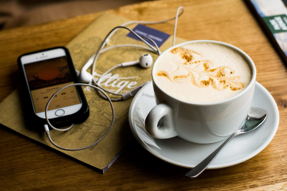 Listening Podcast while having a cup of coffee