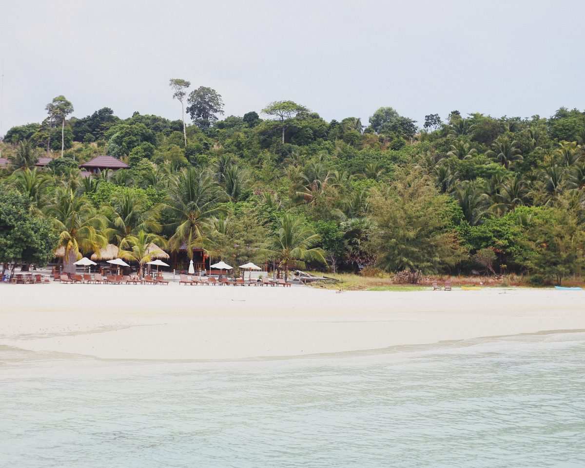 A distant view of Coconut Beach, Koh Rong, Cambodia