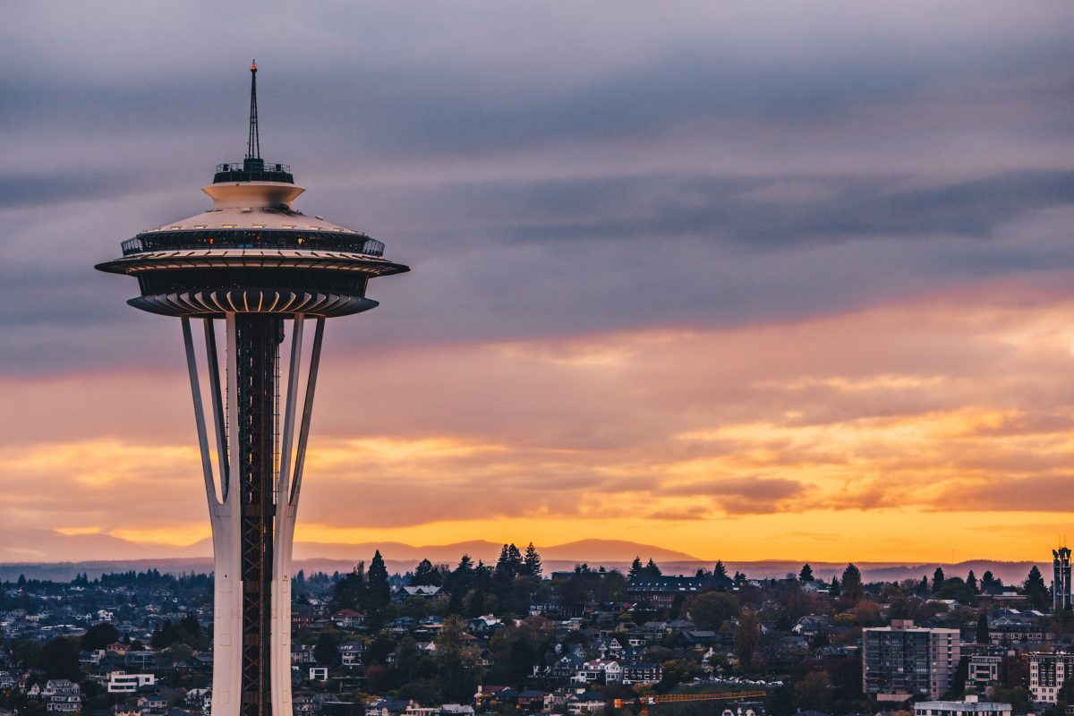 Space Needle during sunset