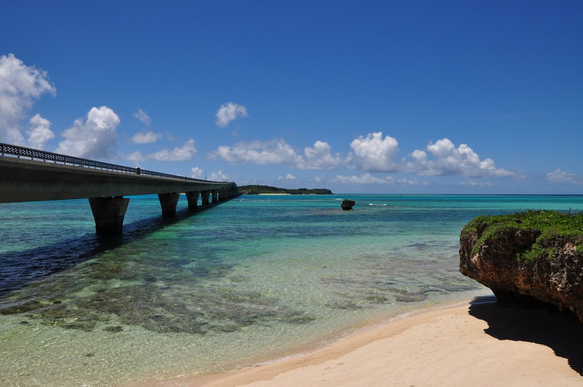 A view of a bridge from the beach in Miyako Island, Japan