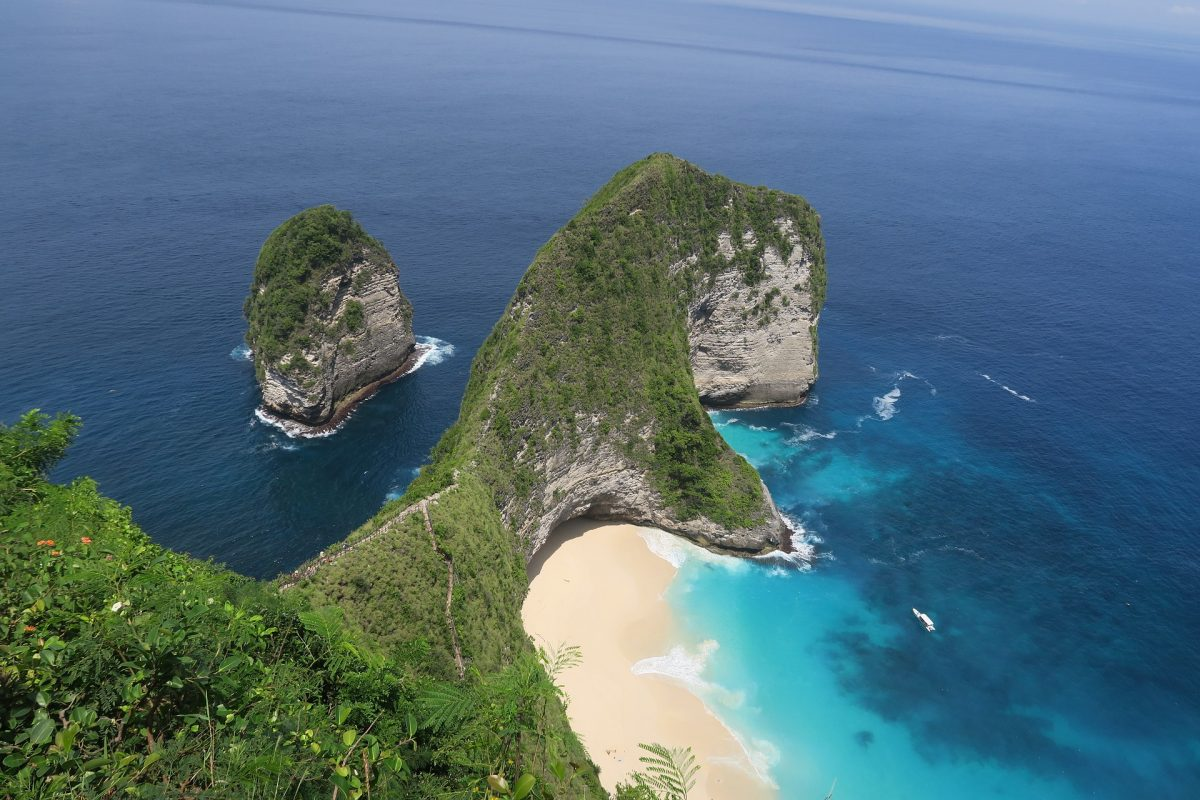 An aerial view of the beach in Nusa Penida, Indonesia