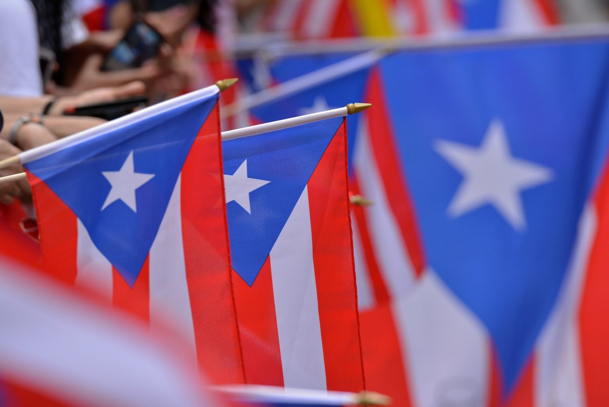 Puerto Rico flags in a parade