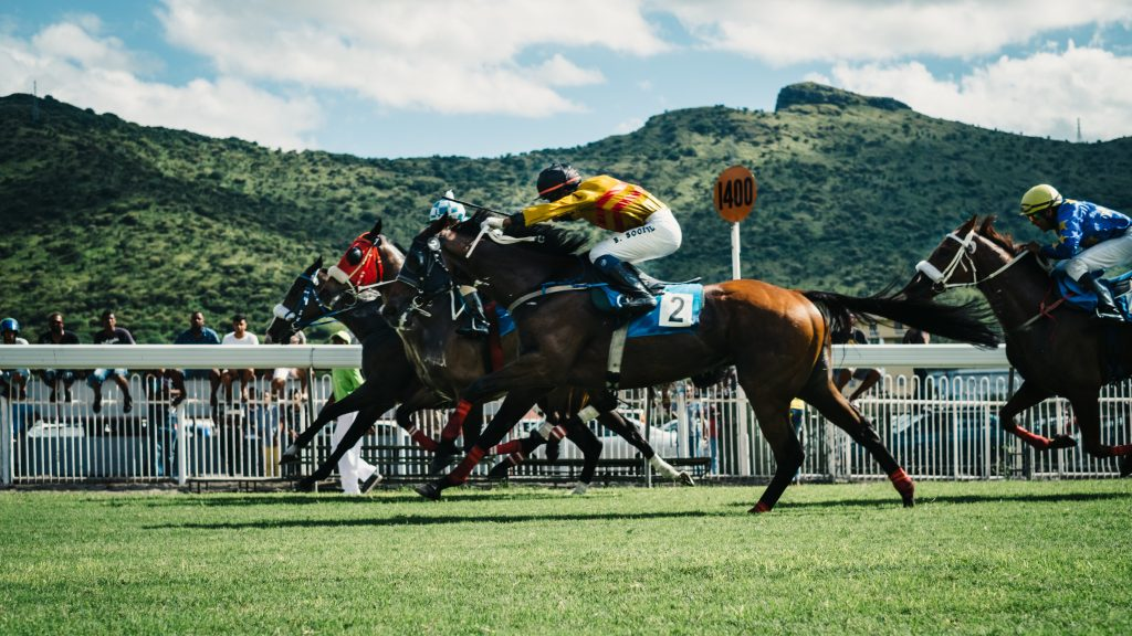 Horse race at Champ de Mars Racecourse in Mauritius