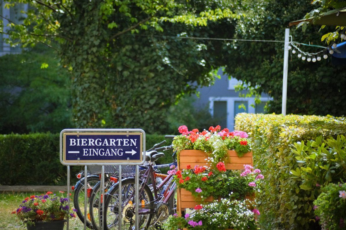 German beer garden during Oktoberfest