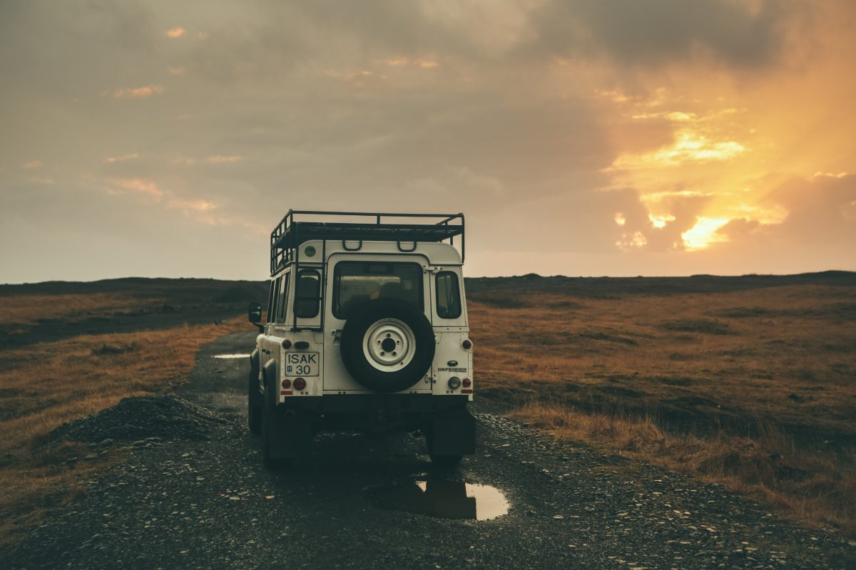 Land Rover on the road