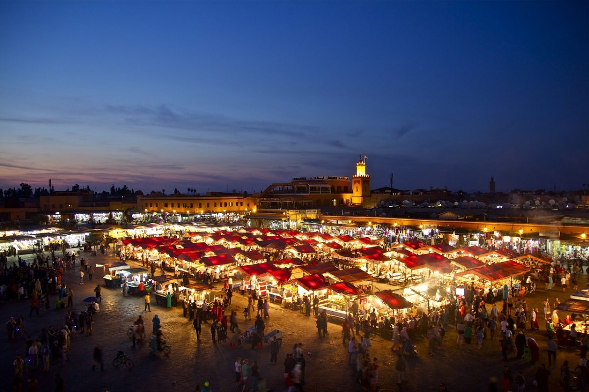 Ariel view of the markets at night