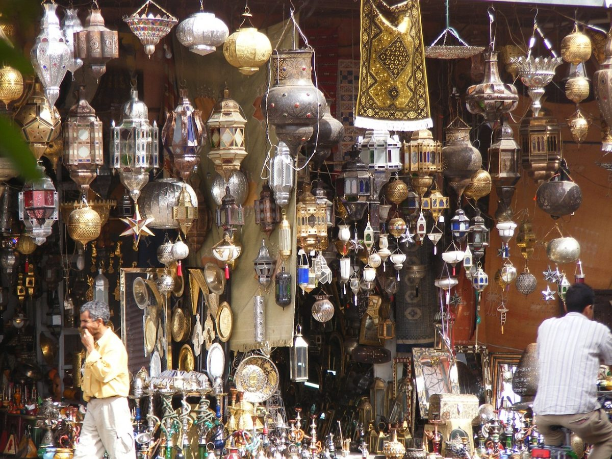 Several different kinds of lanterns  in a shop