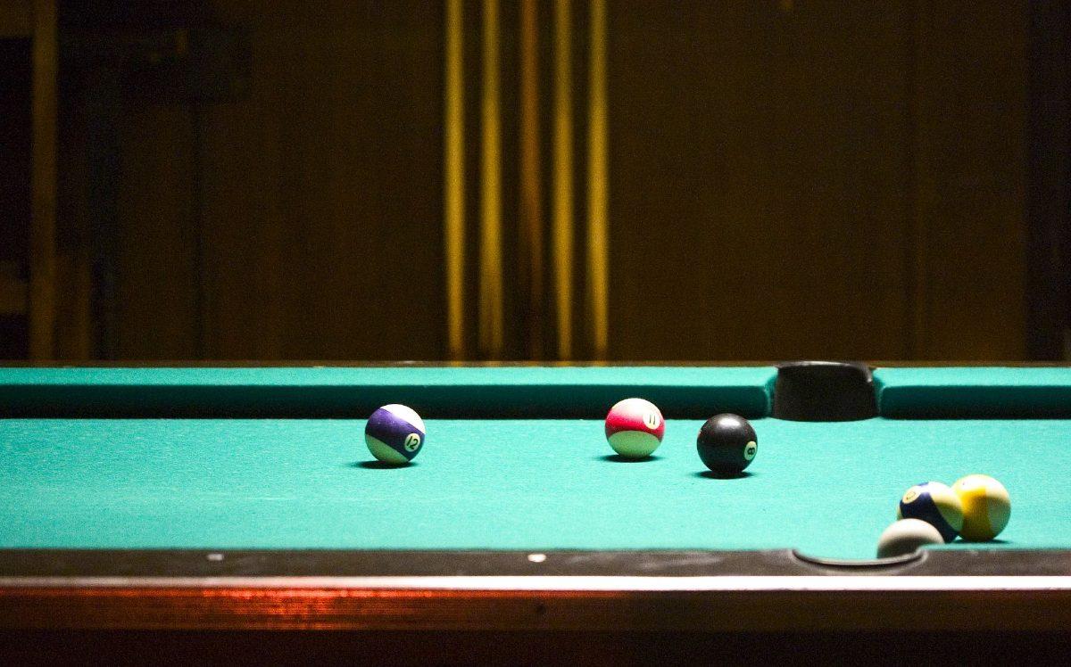 Pool table at sports bar
