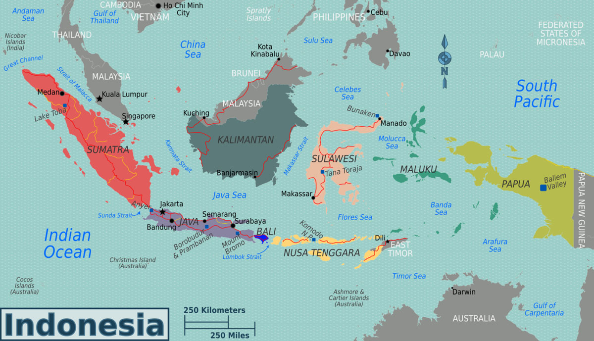 a map showing the geographical location of Indonesia