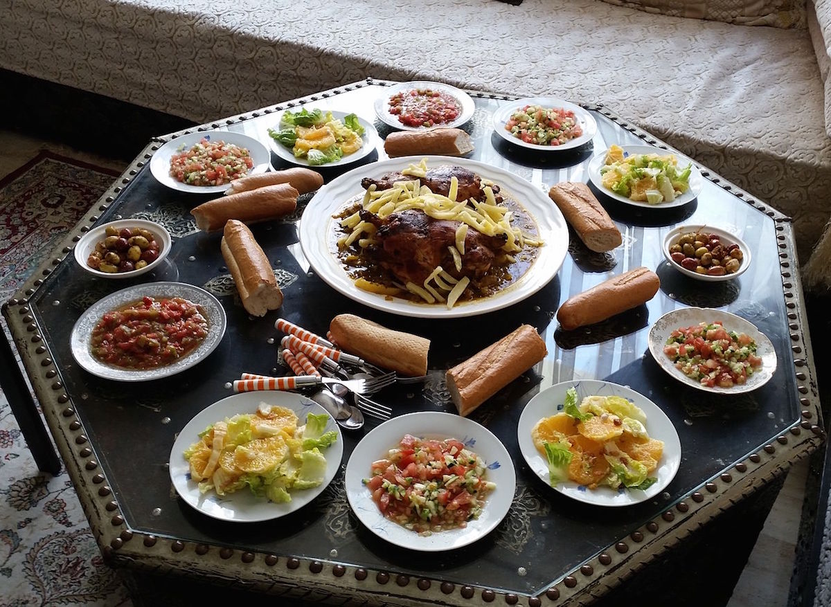 Moroccan lunch on a table