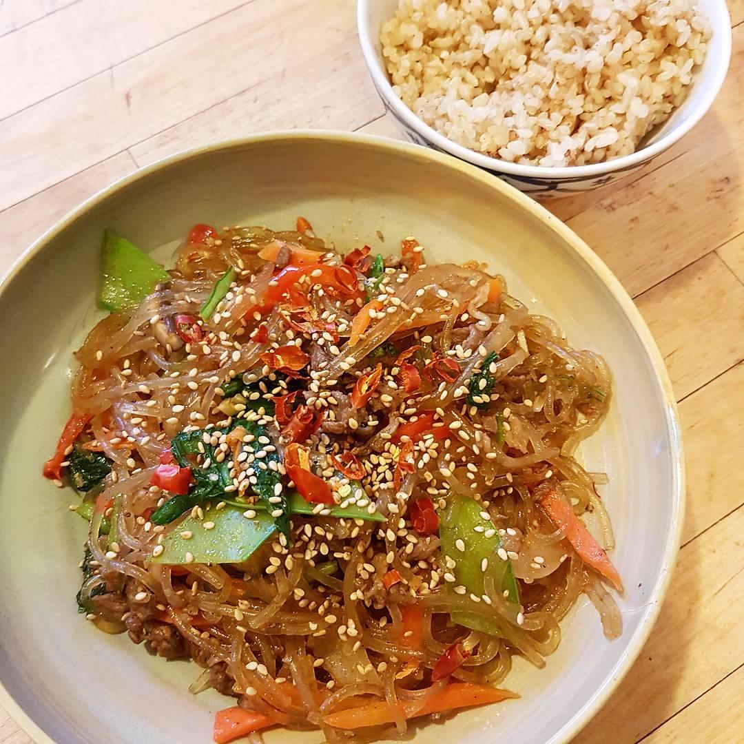 Japchae, Stir-Fried Glass Noodles, Korean Food