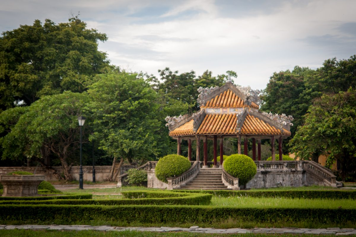 The lush green surrounding the Hue Citadel