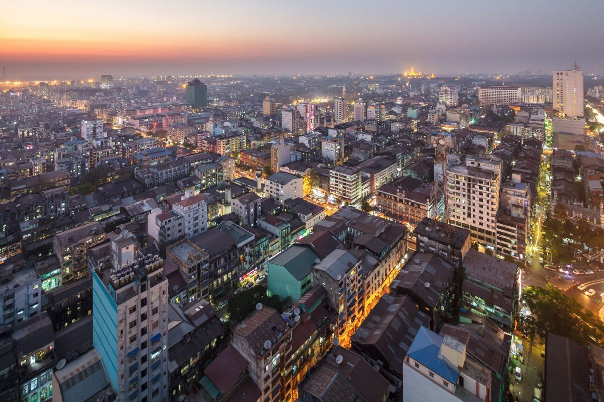 drone shot of Yangon City as the sun sets
