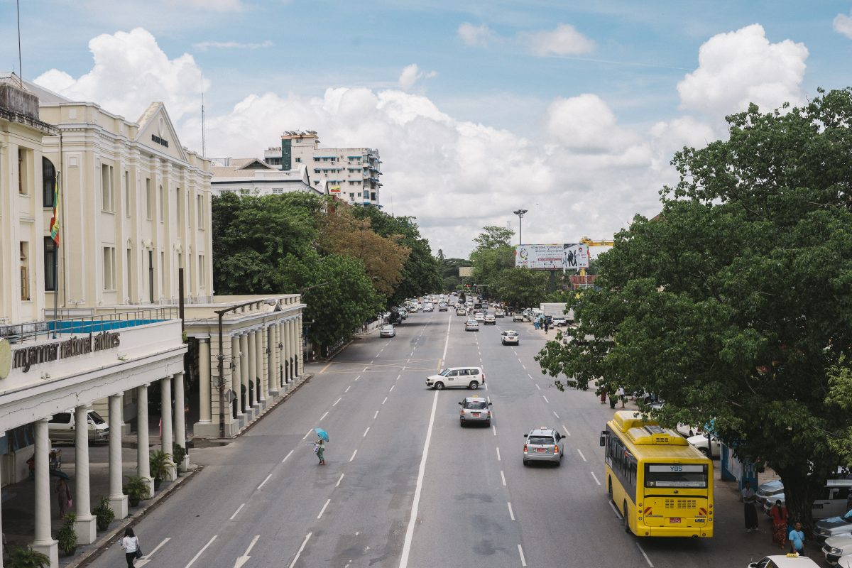 the not-so busy street in Downtown Yangon