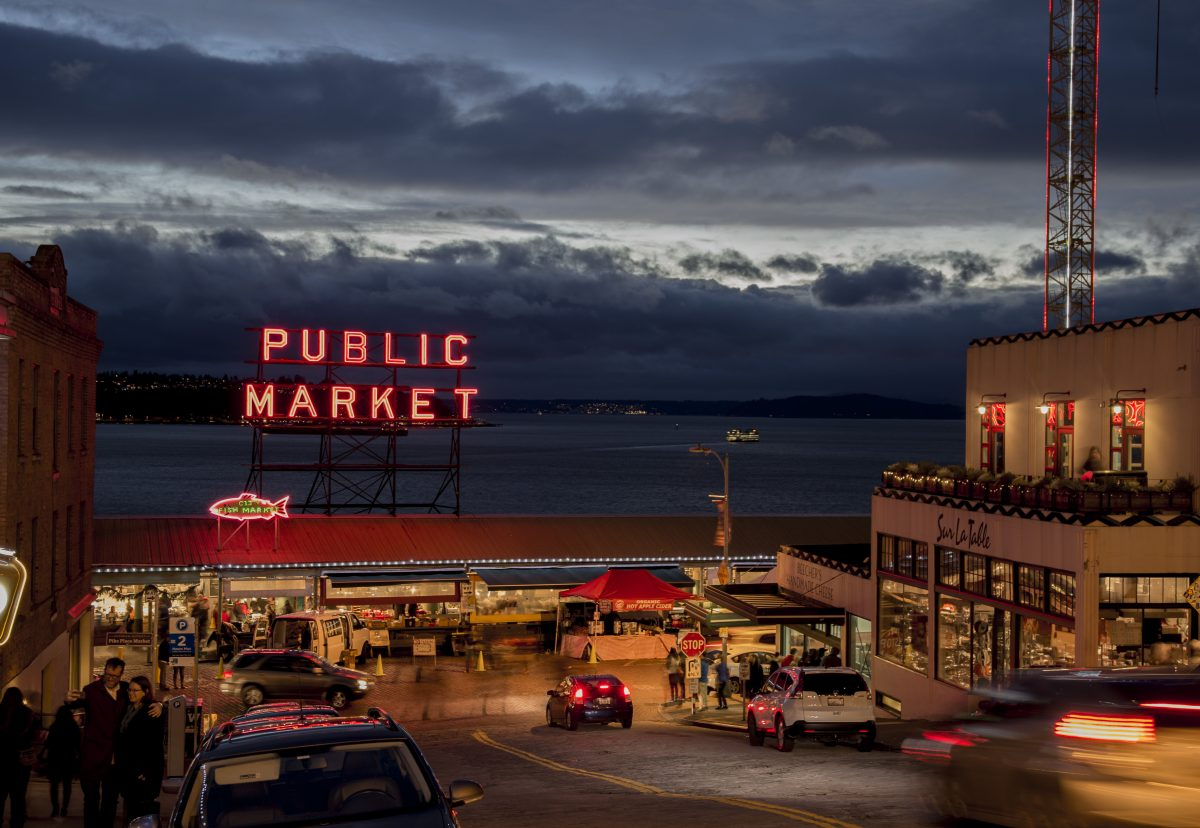 Looking down Pine Street into the Pike Place Market, Seattle