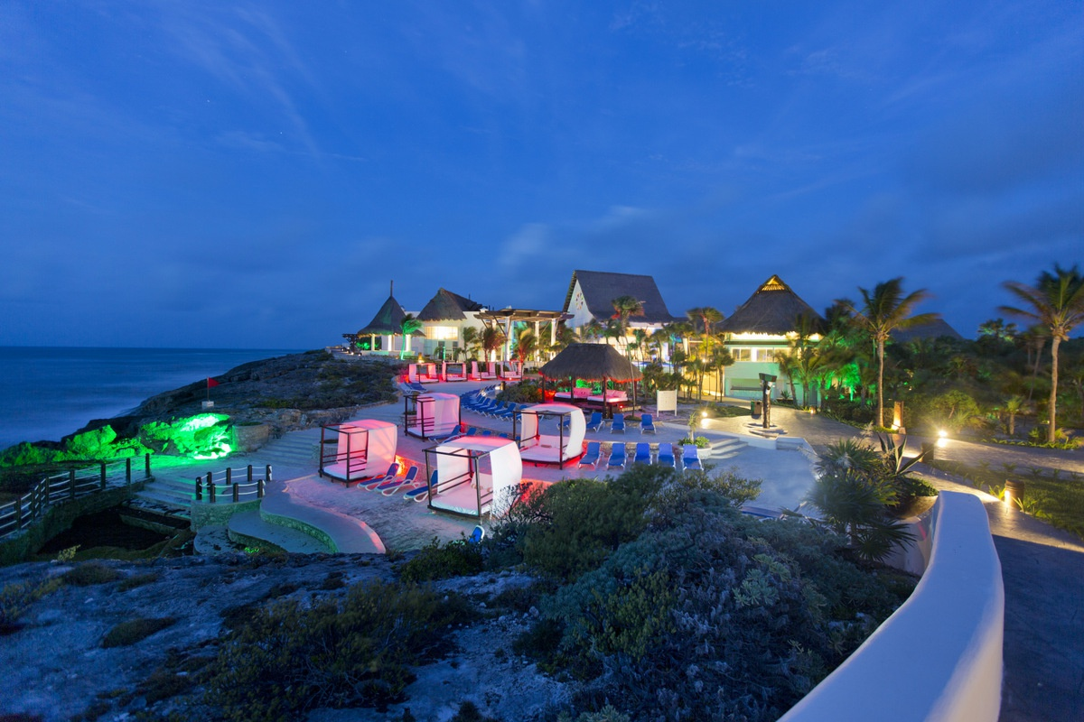 aerial view of Kore Tulum Retreat and SPA Resort at night