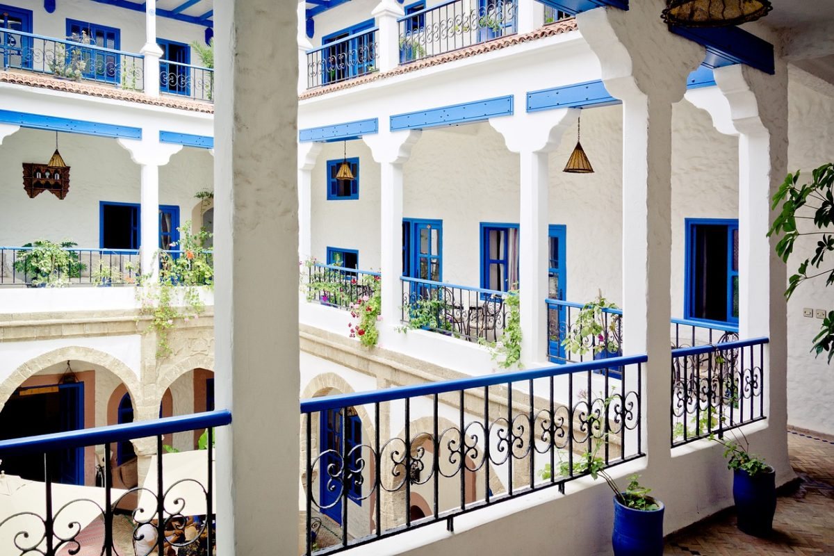 Blue and white building of a riad