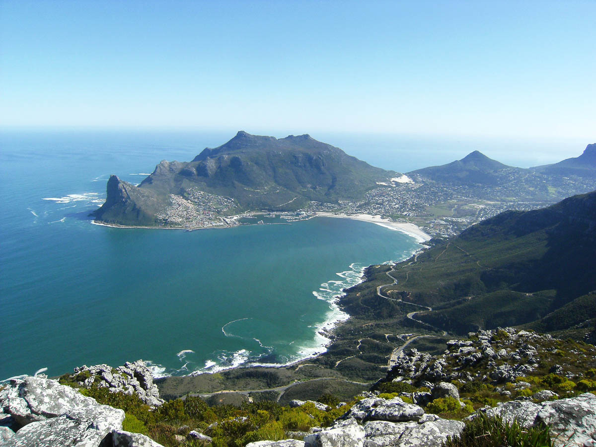 photo from a drone of the beautiful Cape Peninsula in South Africa