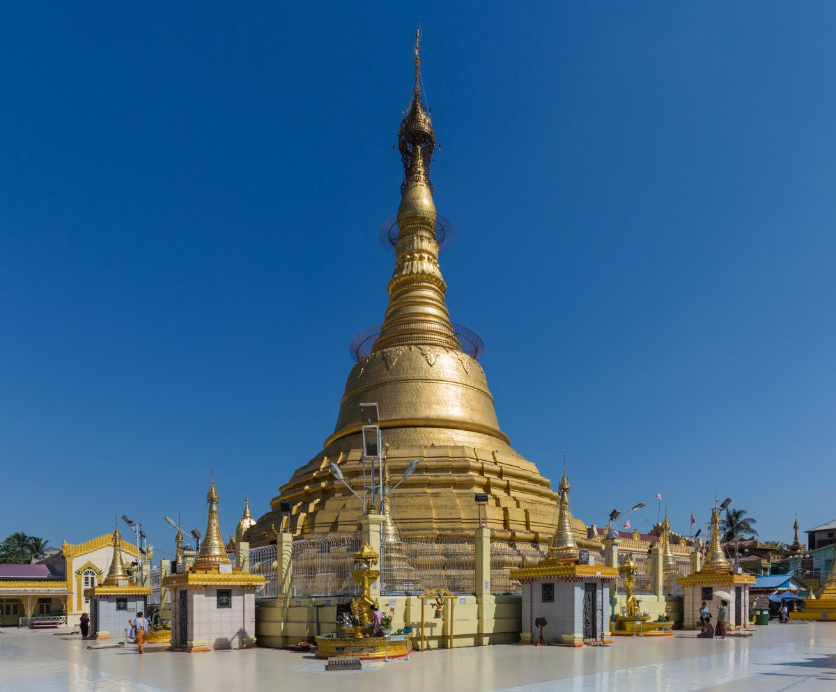 a few people seen around the beautiful and golden Botataung Pagoda