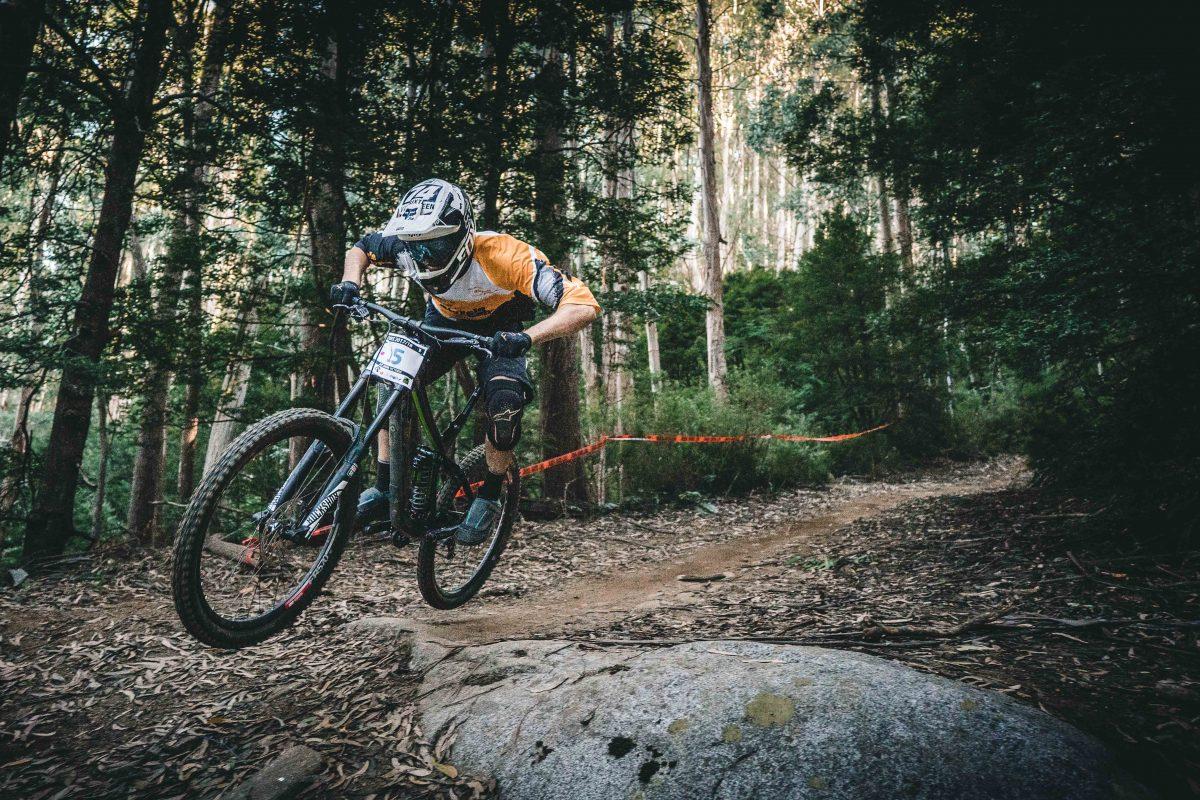 A person mountain biking