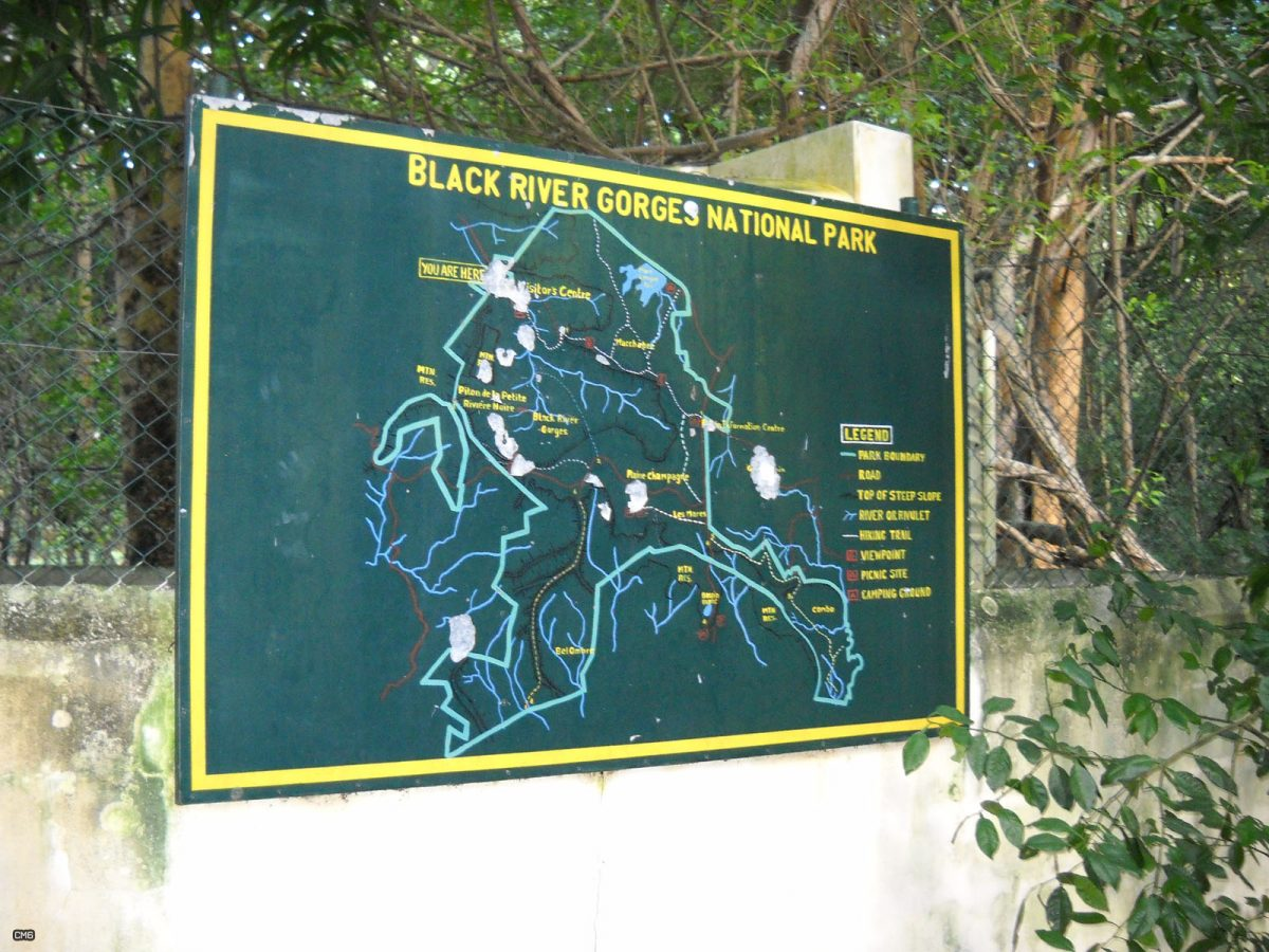 A hoking map in the Black River Gorges National Park