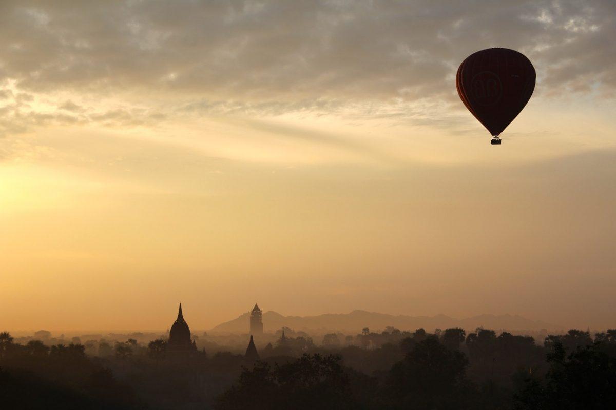 Hot air balloon rising in the air