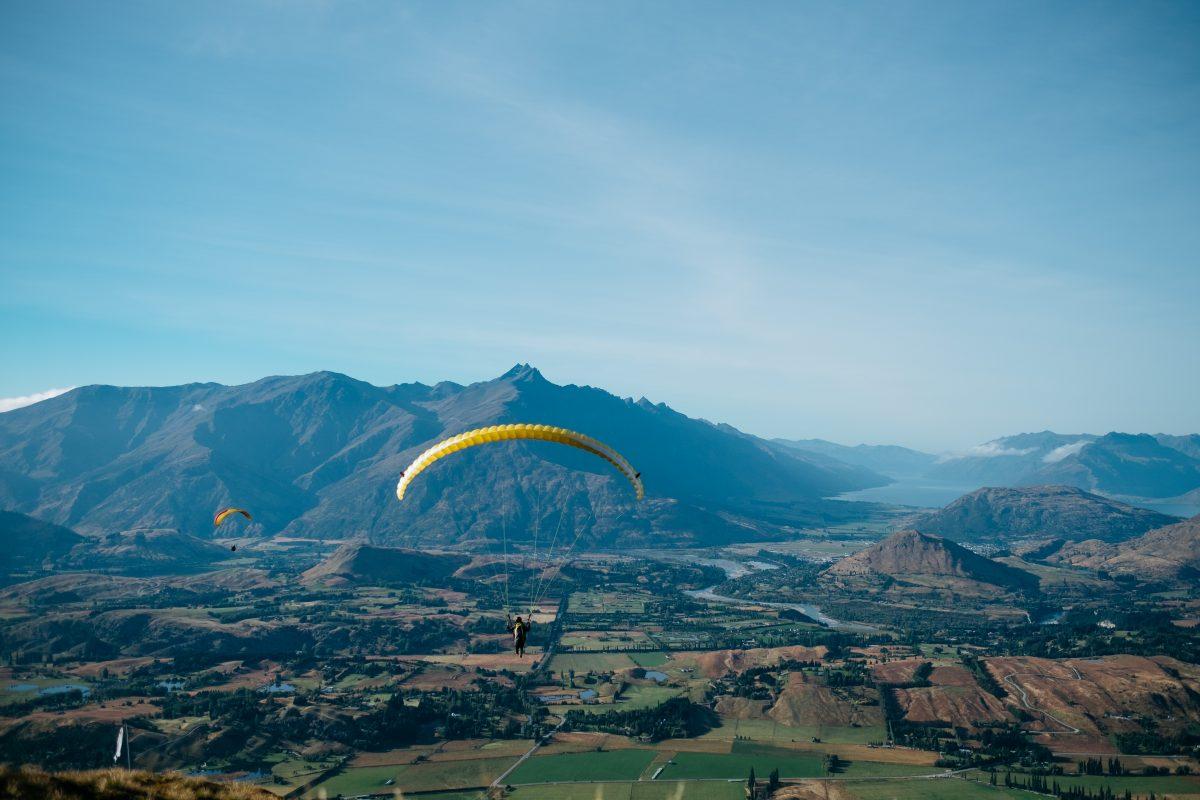 A person paragliding