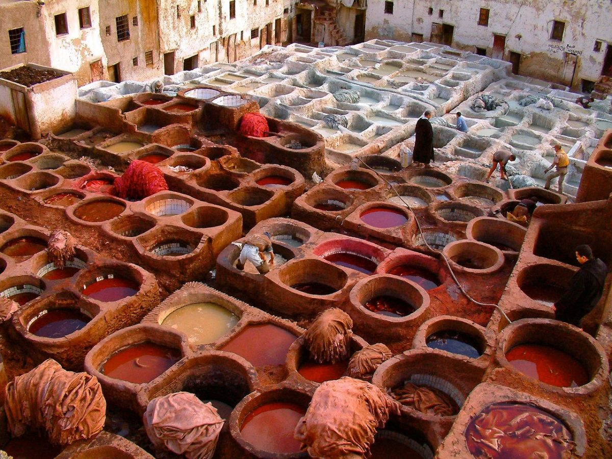 A traditional Moroccan tannery
