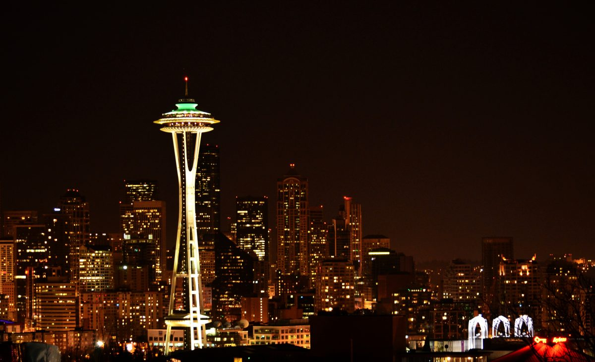 The Space Needle in Seattle at night