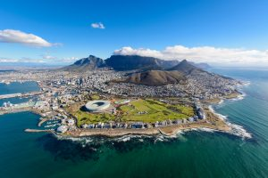 Aerial view of Cape Town, South Africa on a sunny afternoon.