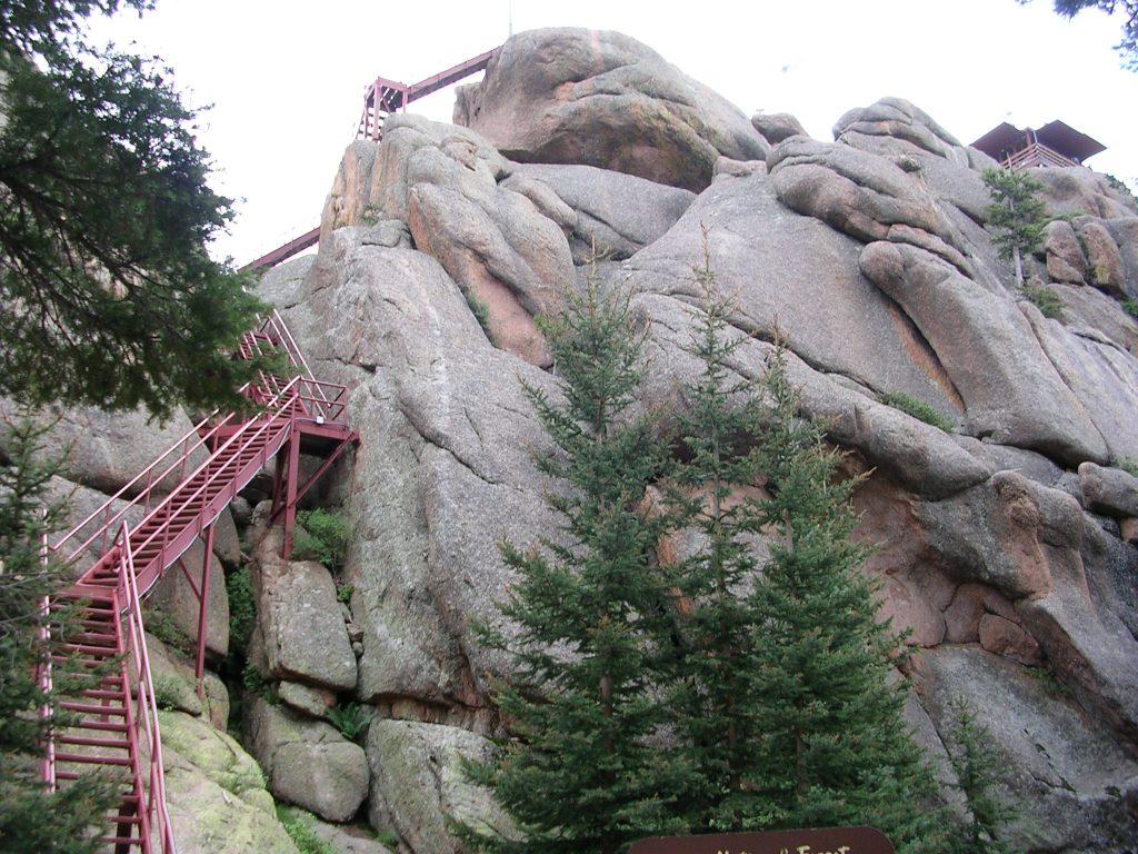 Stairway leading to summit of Devils Head Lookout