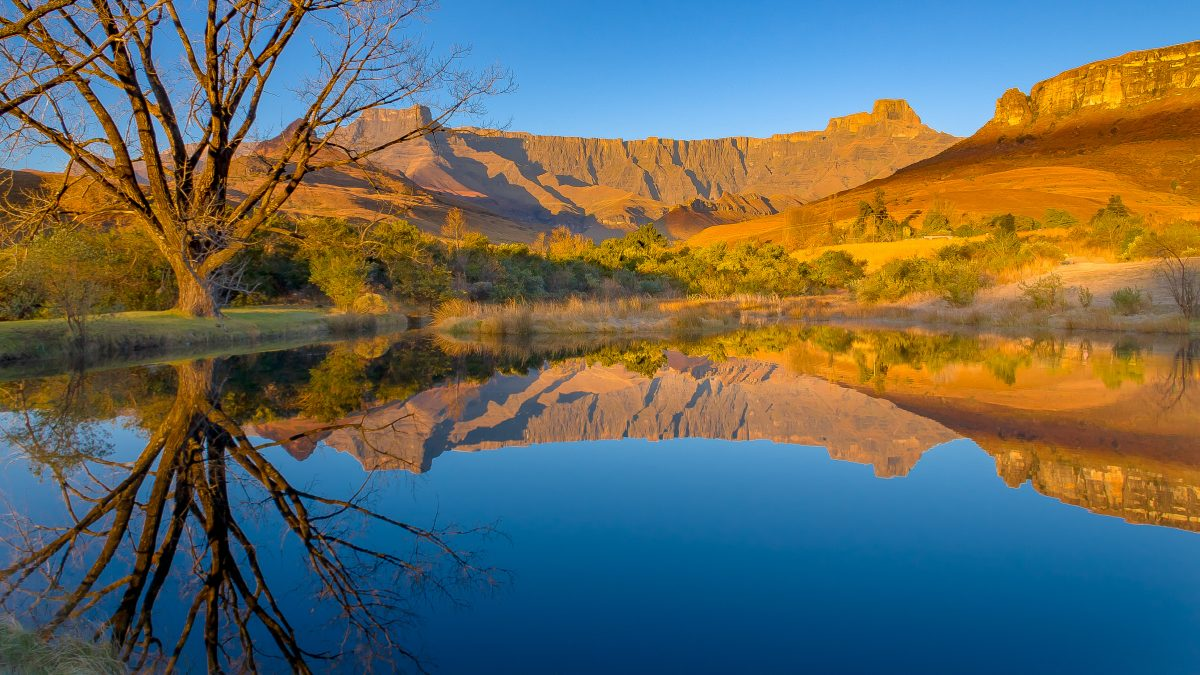 Drakensberg mountains of the amphitheatre reflected in a lake early on a mid-winter morning in South Africa
