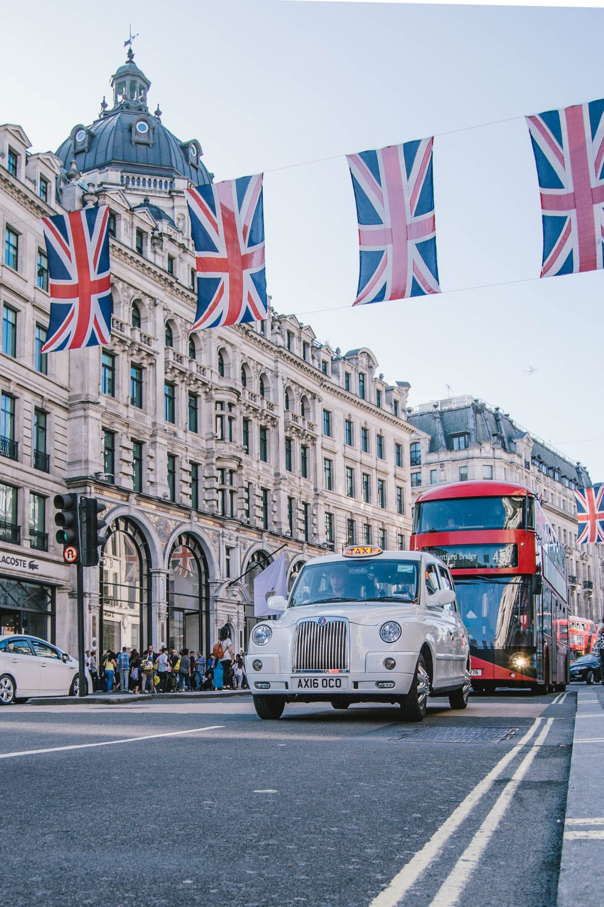 Oxford Street with Bus, Car and UK flag