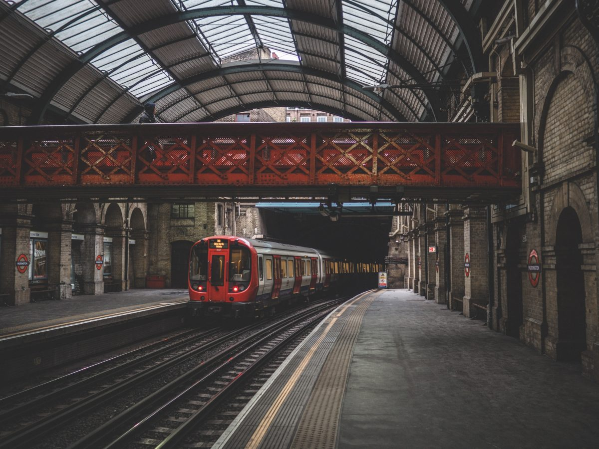 Paddington station with train for London to Oxford travel