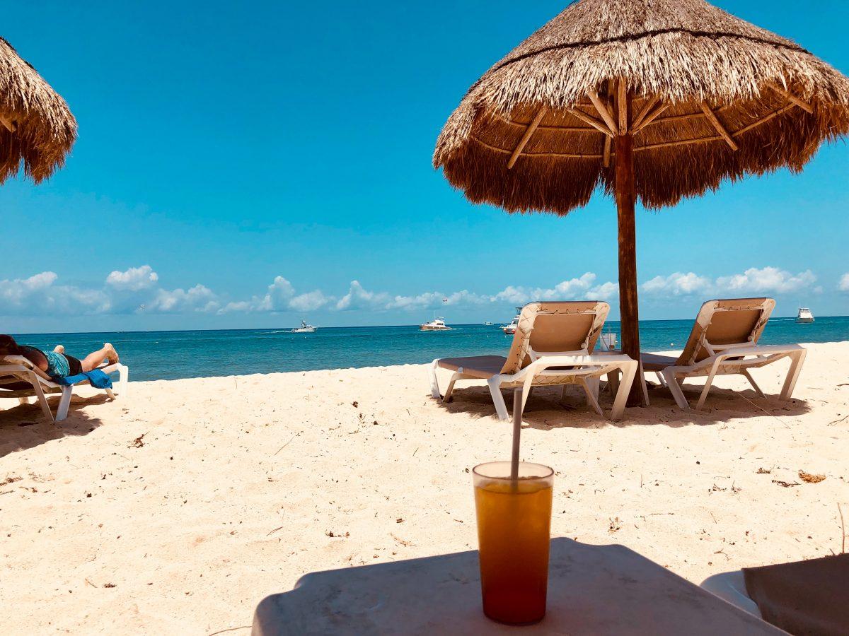 Relaxing at a beach club