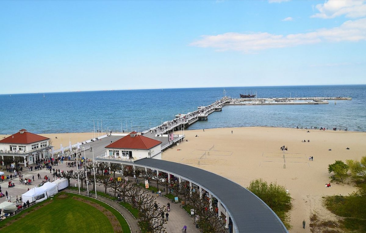 The beach and pier in Sopot