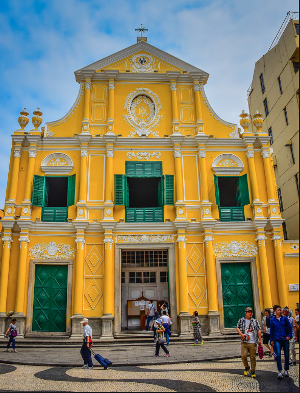 The mustard-yellow and emerald-green exterior of St Dominic's Church certainly brings a splash of colour to the streets of Macau.