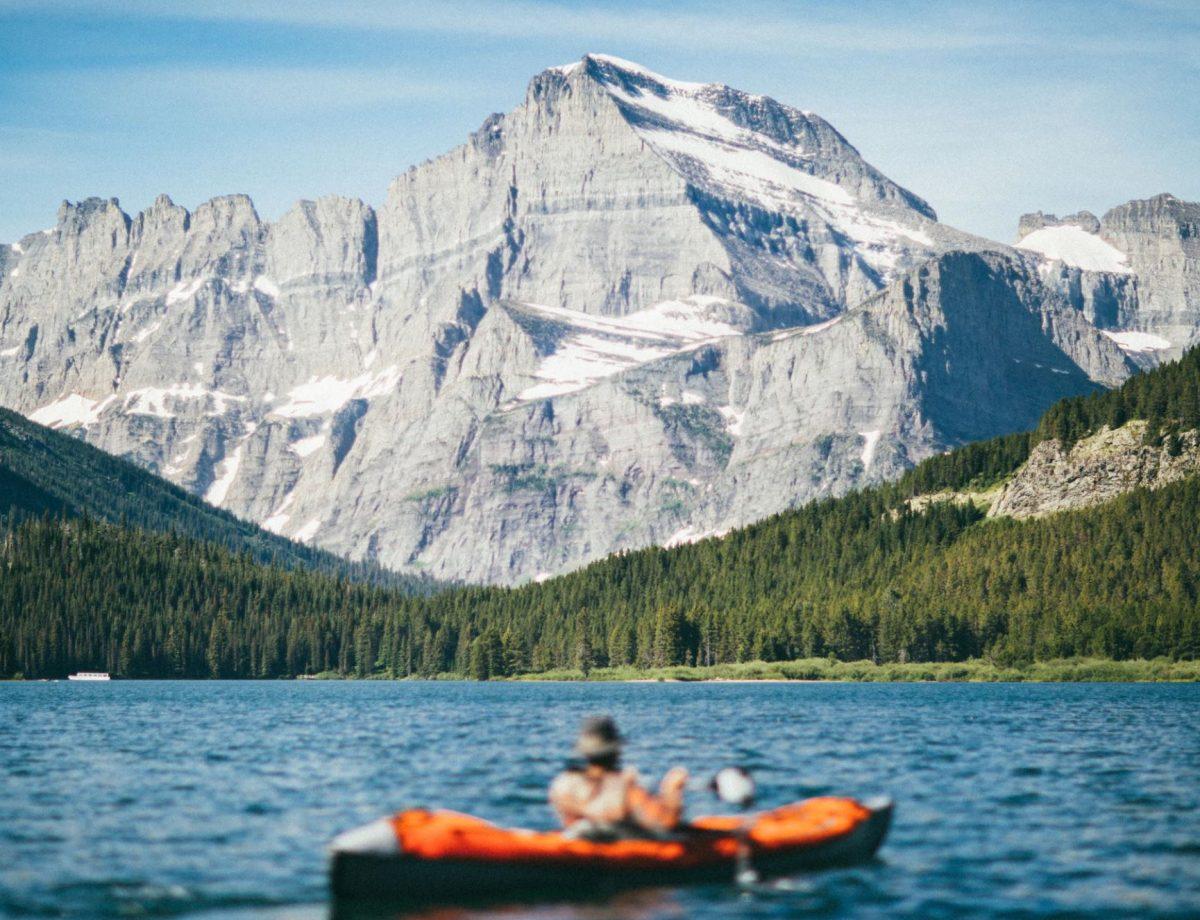 Kayak at Lake McDonald Glacier National Park during summer