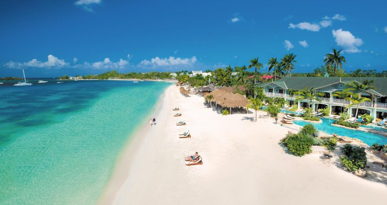 White sand private beach of sandals negril resort in Jamaica