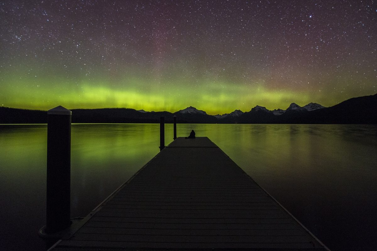 Aurora borealis in Glacier National Park
