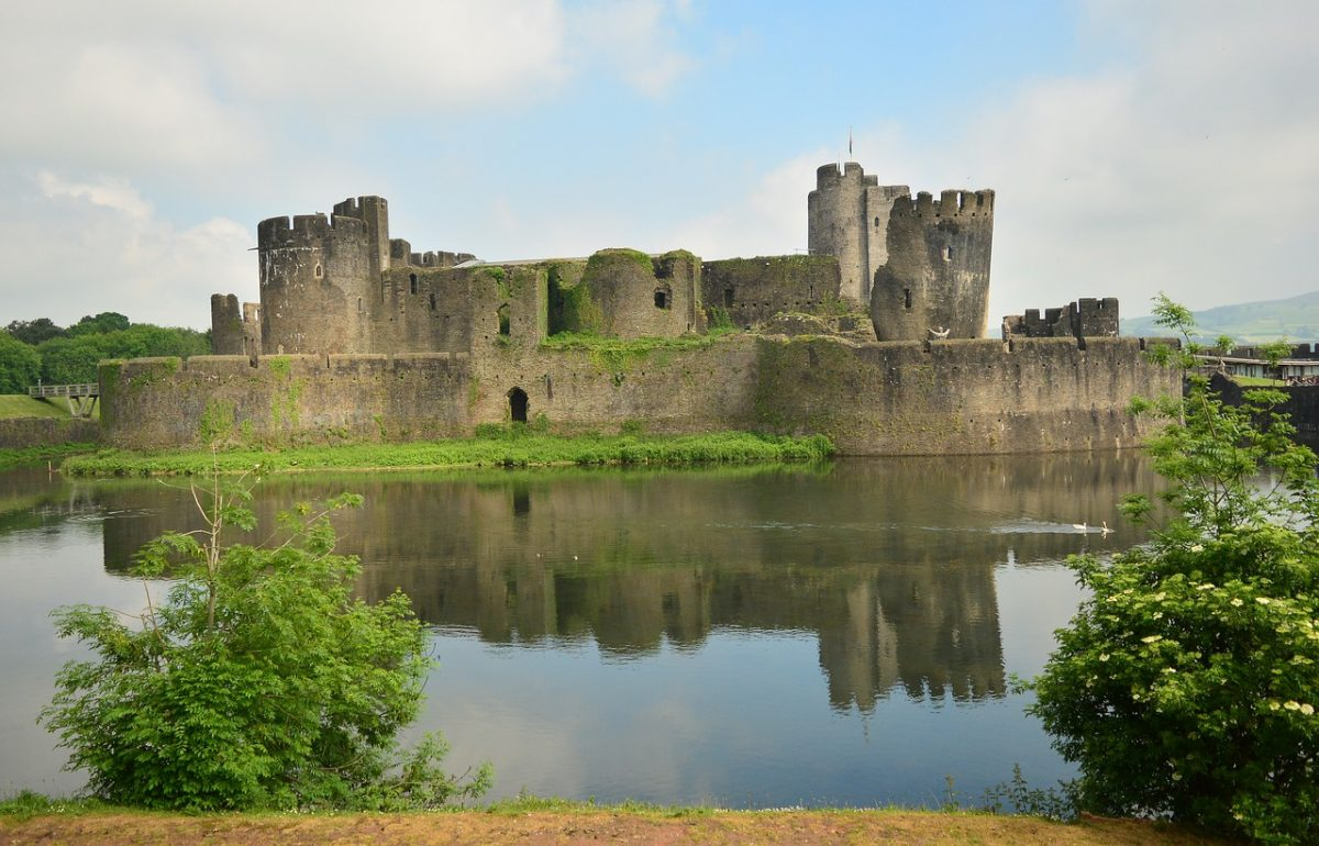 Situated on an island on a massive estate in the county of Gwent is Caerphilly Castle.