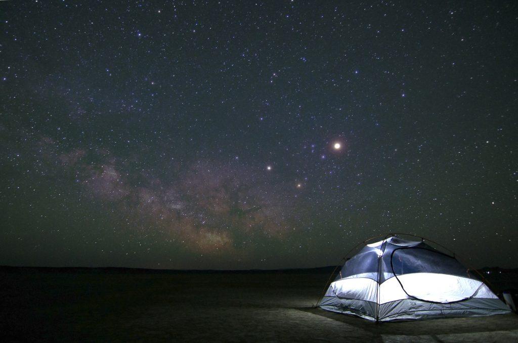 Camping, night sky