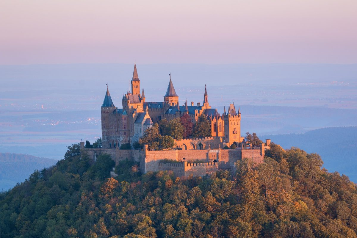 Located atop Mount Hohenzollern overlooking the town of Hechingen lies the Hohenzollern Castle.