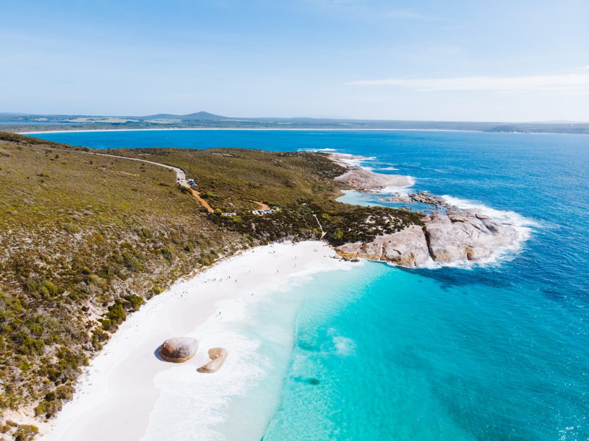 Isolated island beaches in Australia during summer