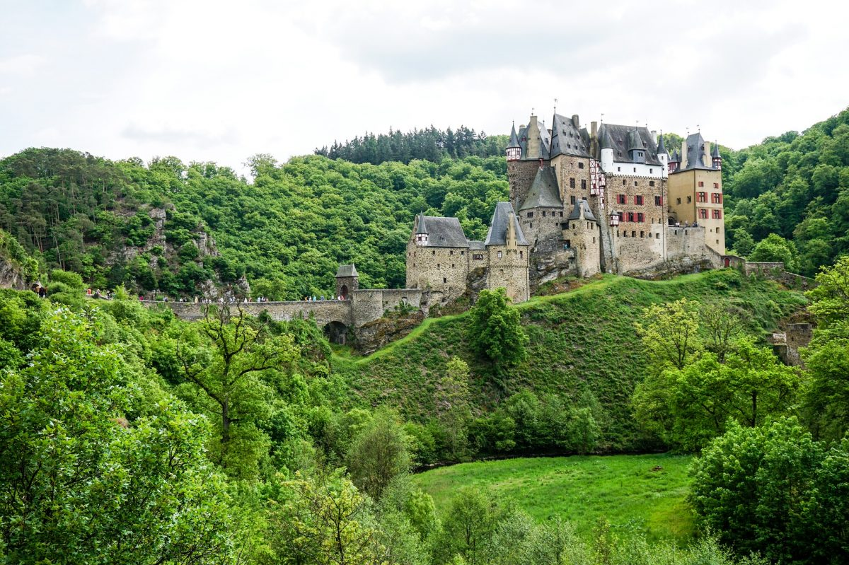 Erected in the hills above the Moselle River, between Koblenz and Trier, is the medieval Eltz castle.