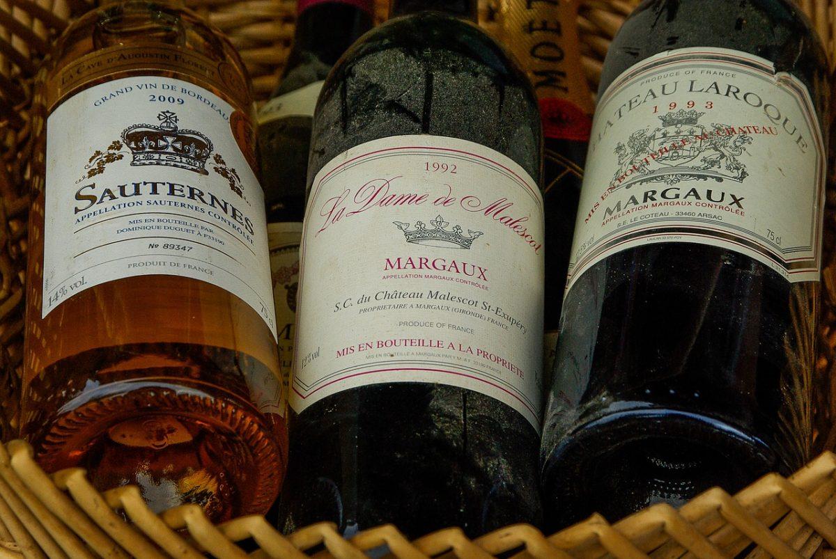 Bottles of Bordeaux French wine