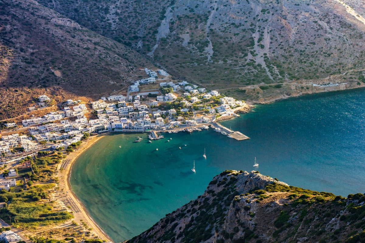 Coastal town view from Kamares cliff, Greece