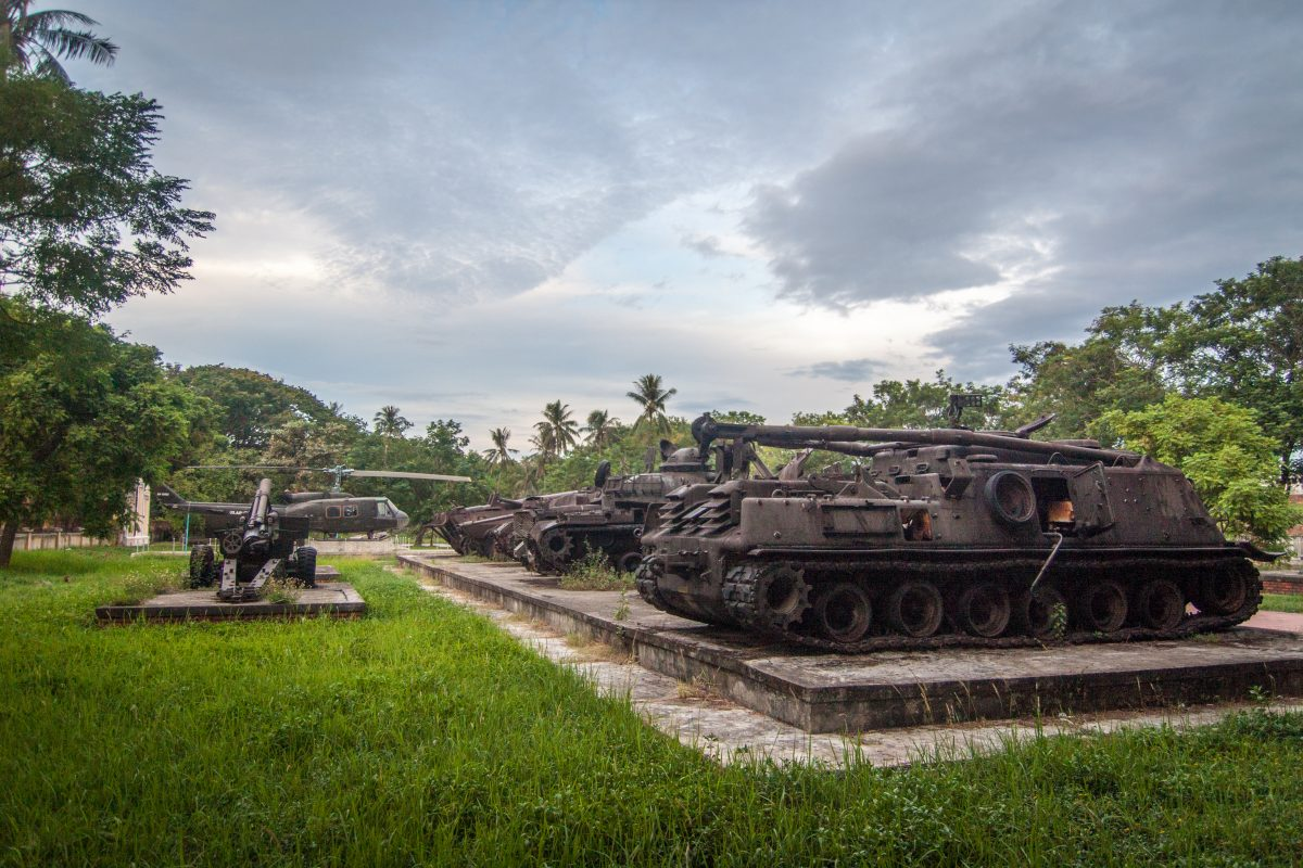 Tanks from the Vietnam War displayed in the Hue Provincial Museum