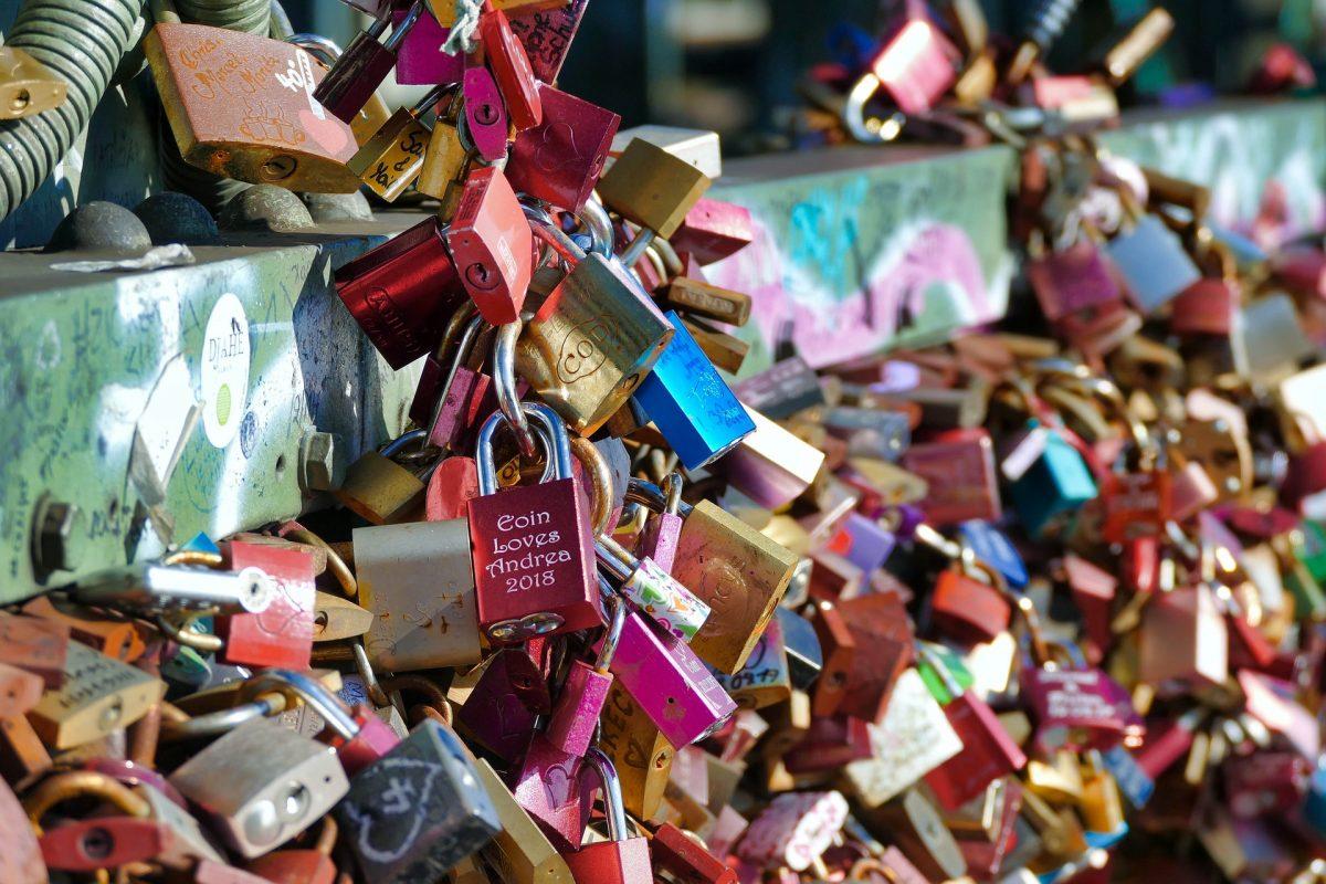 Love locks on the bridge in Poland