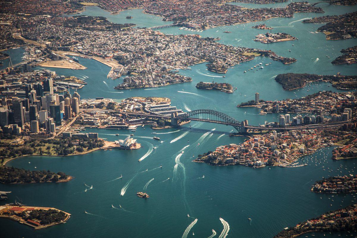 Sydney Australia city skyline on a drone's view
